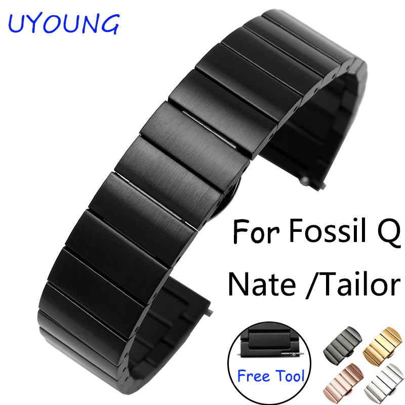 For Fossil Q Nate/Tailor quality metal band 18mm stainless steel watch