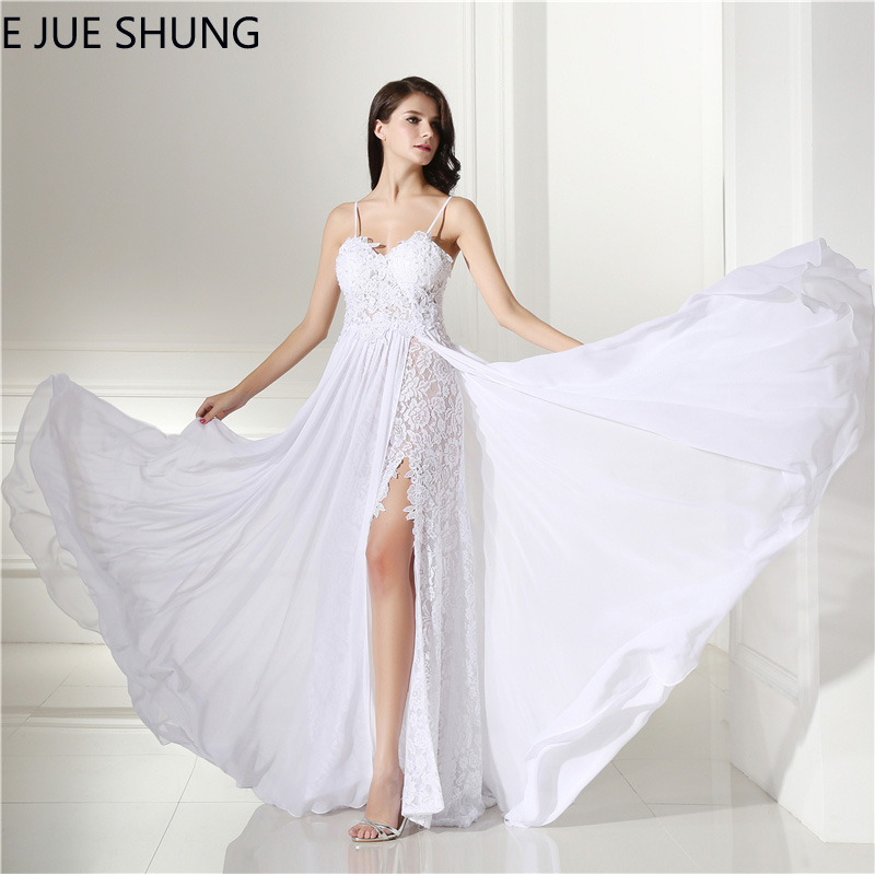 E JUE SHUNG White Chiffon Lace Boho Wedding Dresses 2018 Spaghetti Straps Backless Beach Bridal Dresses Elegant robe mariage