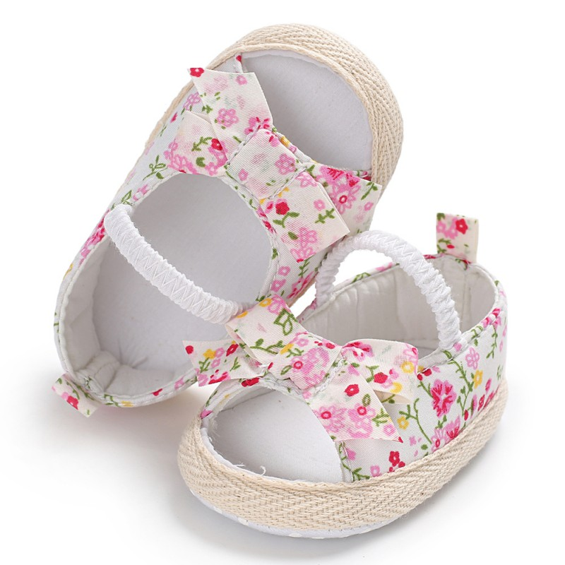 Girl Baby Shoes Summer Newborn Shoes Firstwalker Floral Baby Soft Bottom Non-slip Toddler Baby First Walkers