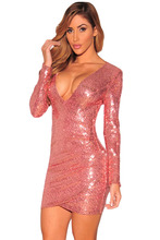 Adogirl Autumn Woman Party Dress Sexy Deep V Neck Pink Silver Ruched Sequin Long Sleeve Nightclub Slim Dress Vestido De Festa