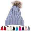 Women Crochet Wool Knit Beanie Beret Ski Ball Cap Baggy Winter Warm Hat Pompon Hat Female Winter Braid Cap Headgear For Women Sk