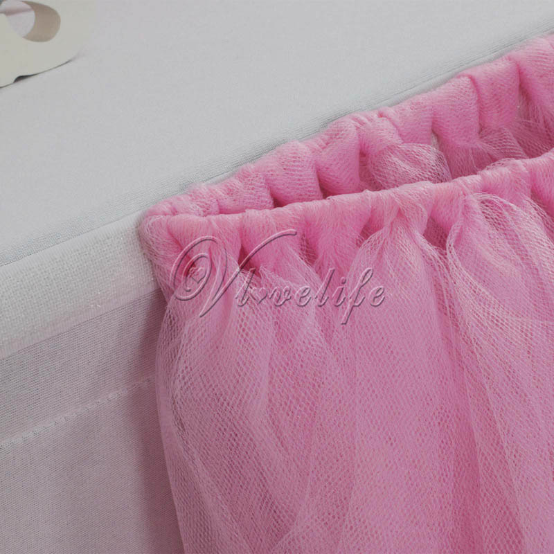 10pcs Light Pink Tulle Tutu Table Skirt Custom Wonderland Skirting Wedding Birthday Baby Shower Party Decoration In DIY Decorations From
