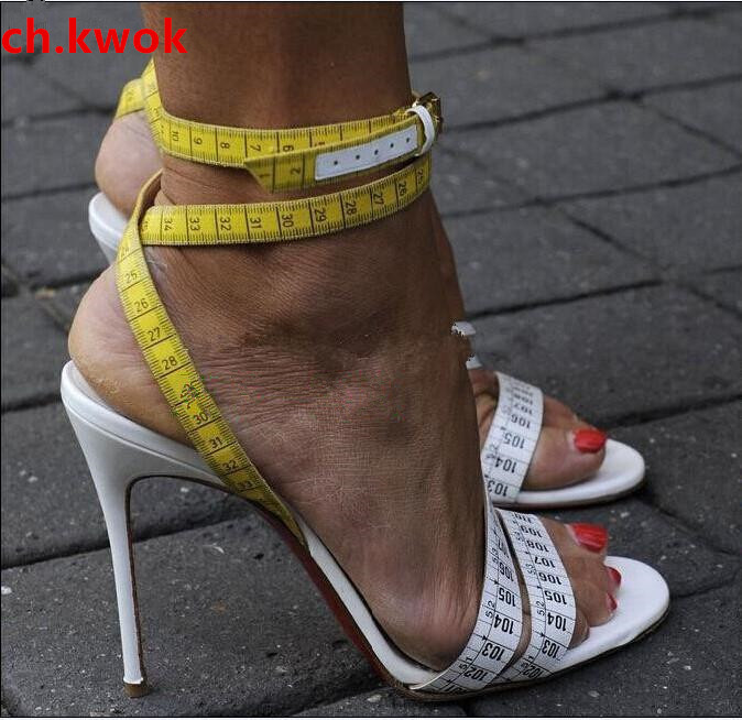 Summer Ladies Mujers Fashion Rulers Print Woman Ankle Strap Shoes Woman Peep Toe Gladiator Sandals Girls Thin High Heels Shoes women sandals 2018 fashion summer shoes woman rome ankle strap flat sandals casual peep toe gladiator sandals low heel shoes