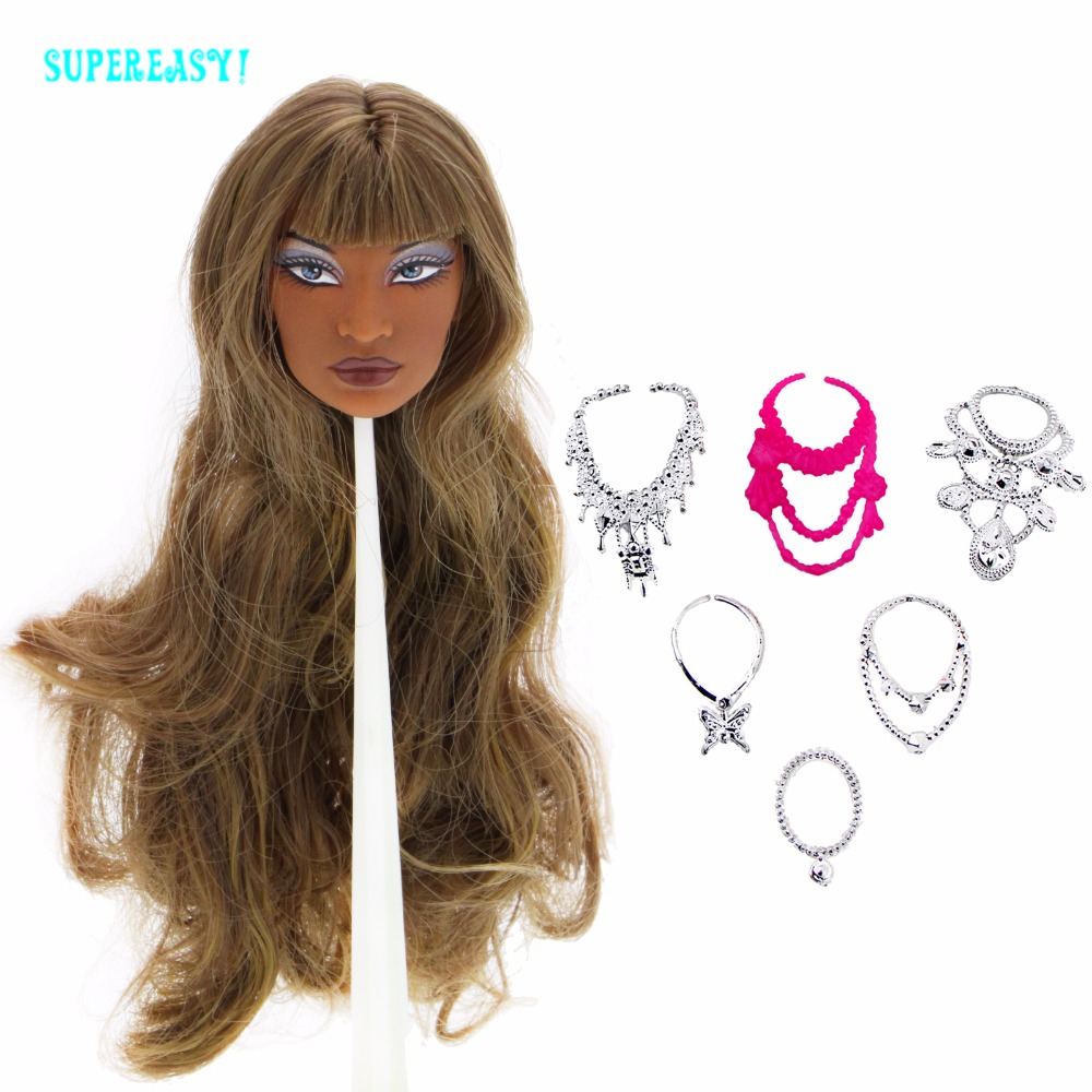 Limited Edition Collection 1x Doll Head Brown Blunt Bangs Curly Hair + Random 6x Chain Necklaces For FR 12 1/6 Doll Accessories