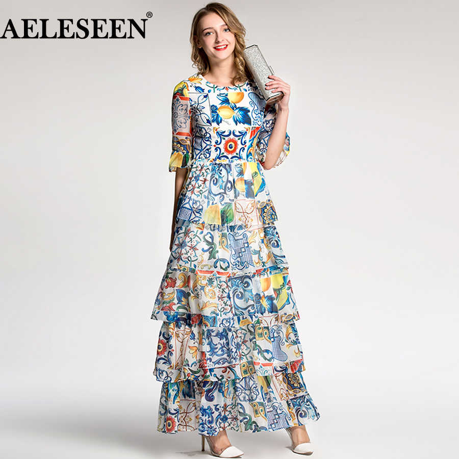 AELESEEN Autumn Women Long Dresses 2018 Holiday Luxury Half Flare Sleeve Fashion Patchwork Print Porcelain Romantic Runway Dress