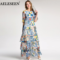 AELESEEN Autumn Women Long Dresses 2018 Holiday Luxury Half Flare Sleeve Fashion Patchwork Print Porcelain Romantic Runway Dress