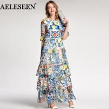 Aeleseen 가을 여성 긴 드레스 2018 휴일 럭셔리 하프 플레어 슬리브 패션 패치 워크 인쇄 도자기 로맨틱 활주로 드레스