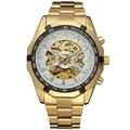 Comercio al por mayor de Color Oro Reloj Mecánico Automático Esquelético de Reloj Superior de la Marca de Lujo del Hombre de la vendimia relogio masculino automatico