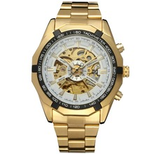 Wholesale Gold Color Skeleton Automatic Mechanical Watch Man's vintage Watch Top Brand Luxury relogio automatico masculino