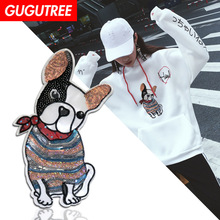 GUGUTREE embroidery Sequins big dogs  patches animal badges applique for clothing XC-228