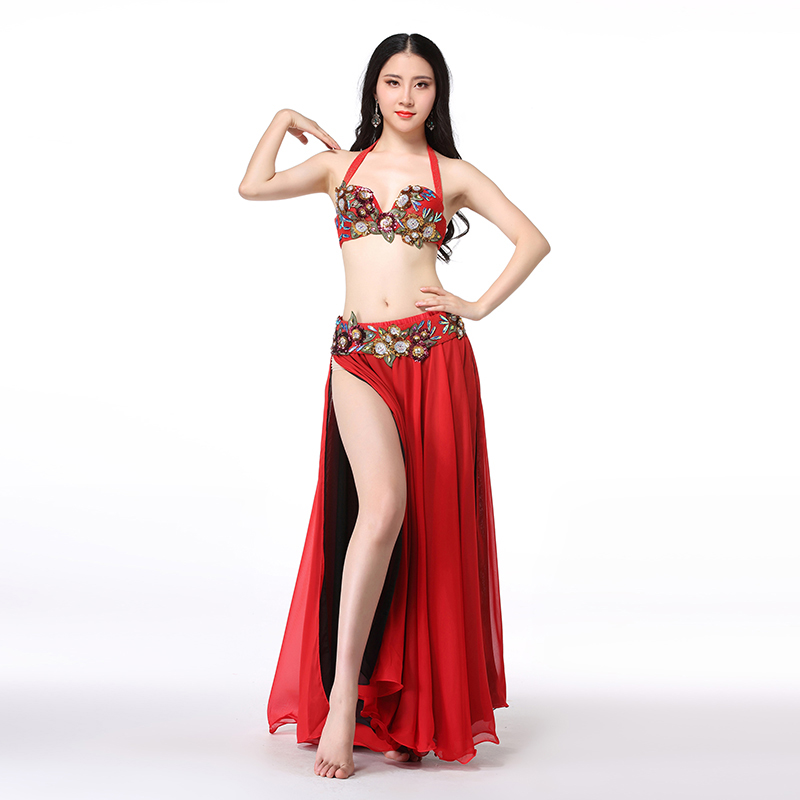 Women Dance Wear 2018 Egyptian Bellydance Clothes Oriental Outfits Beaded Belly Dance Costume Set Bra Belt Skirt