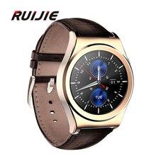 2016×10 abgerundete smart watch pulsmesser bluetooth 4,0 echt leder wasserdichte smartwatch unterstützt arabisch türkisch russische