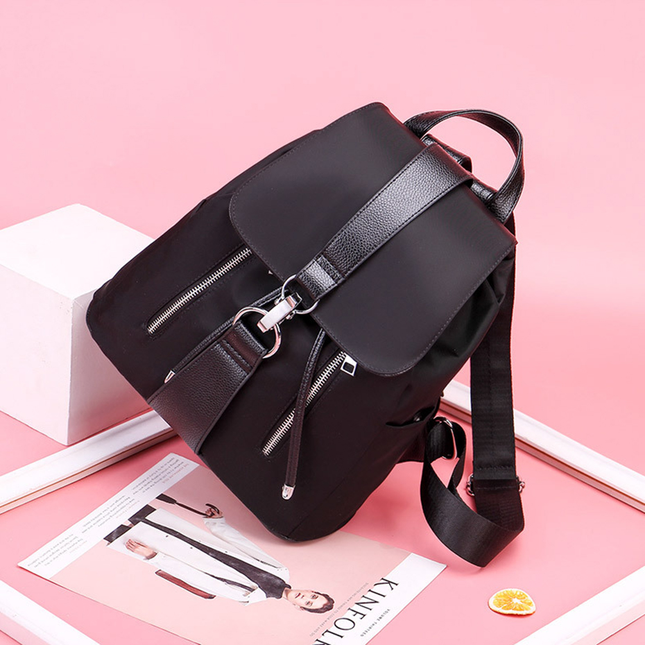 HTB1eXPQBIyYBuNkSnfoq6AWgVXag Women Backpack School Bags For Teenager Girls Nylon Zipper Lock Design Black Femme Mochila Female Backpack Fashion Sac A Dos