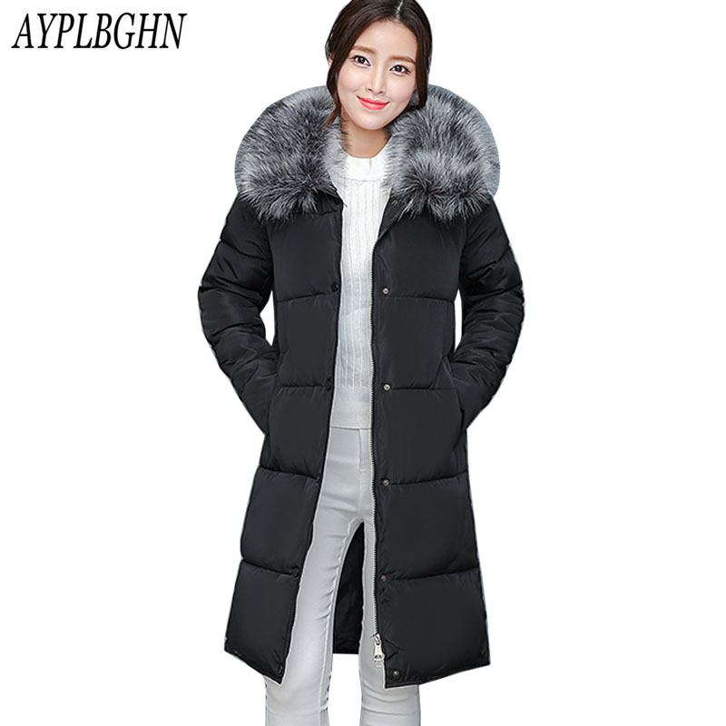 Snow Wear Winter Coats Women 2017 Fashion Hooded Thick Super warm Medium long   Parkas   Long sleeve Loose Big yards Jacket 7L95