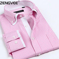 Mens Dress Shirts Solid Striped Cotton Long Sleeves Double Collar Shirts with Top Quality 9-colors camisa social masculina