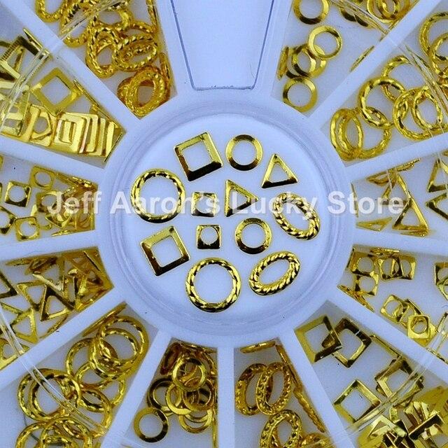 6 shapes 3d gold metal nail art decorations circular frame wheel ...