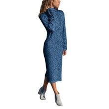 Women Dress Casual High Collar Long Sleeve Evening Party Dress Button Solid Color Elegant Sheath Slim Dress Women Mid-Calf