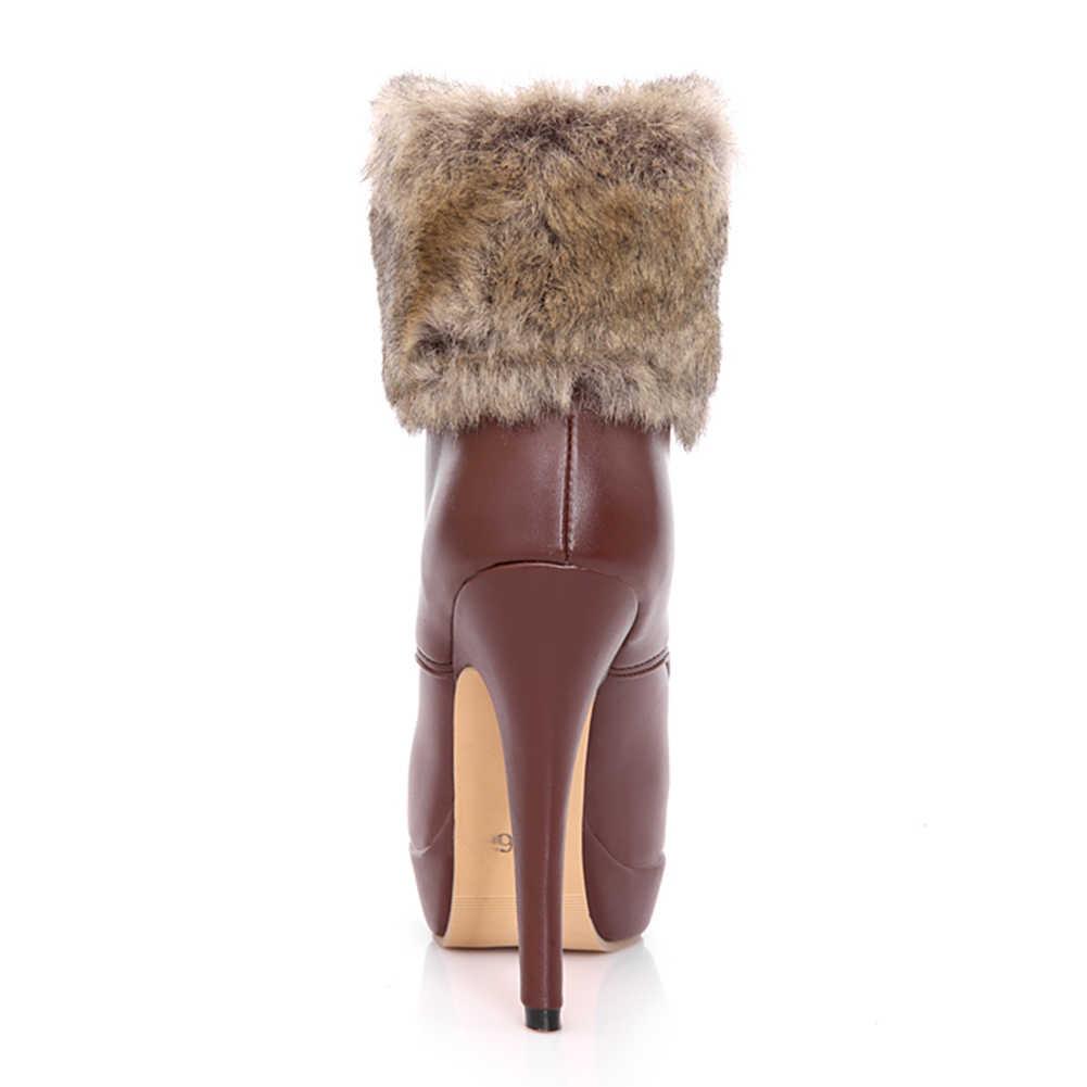 BONJOMARISA ขนาดใหญ่ขนาด 32-43 ยี่ห้อ Mature ข้อเท้า Booties ผู้หญิงฤดูใบไม้ร่วงฤดูหนาว 2019 Elegant Super รองเท้าส้นสูงรองเท้าผู้หญิง