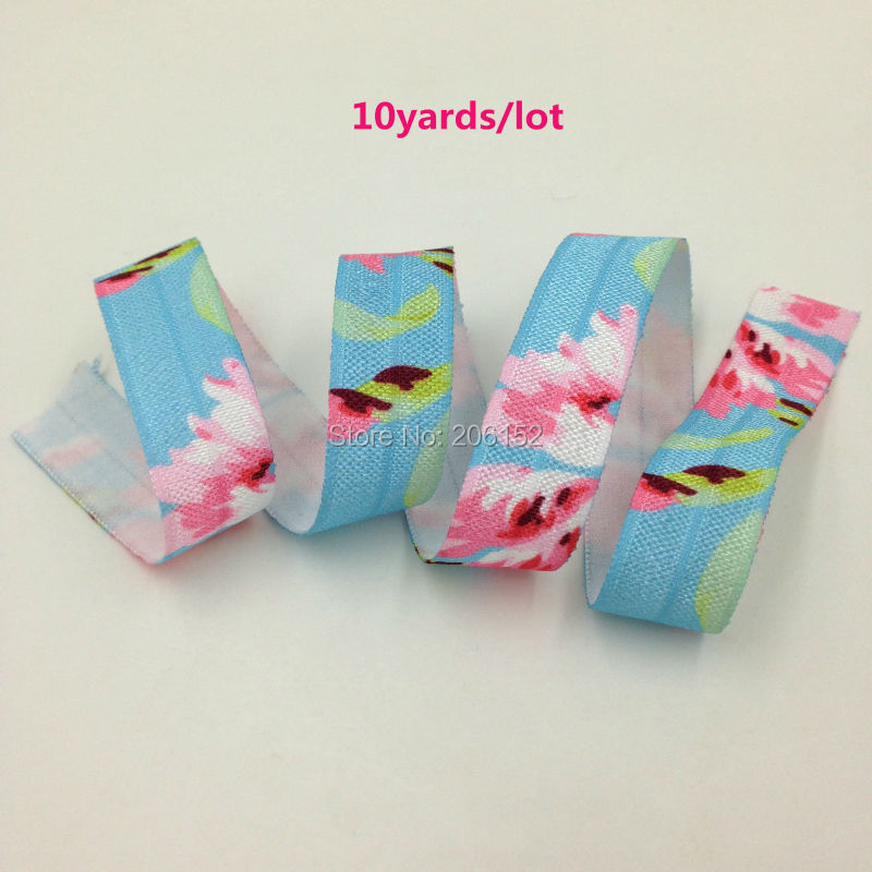 Floral Print Fold Over Elastic 5/8 Flower Print FOE Elastic Ribbon Webbing for DIY Headwear Hair Accessories 10yards/lot бестолочь