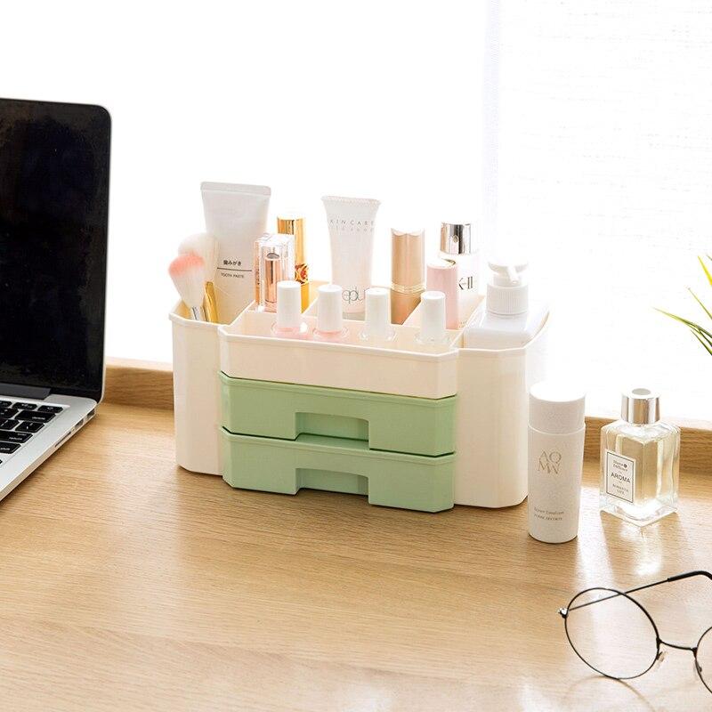 LIYIMENG Makeup Organizer Cosmetic Storage Box Brush Lipstick Cotton Pad Holder Desk Bathroom Organizer Makeup Display Case makeup organizer box