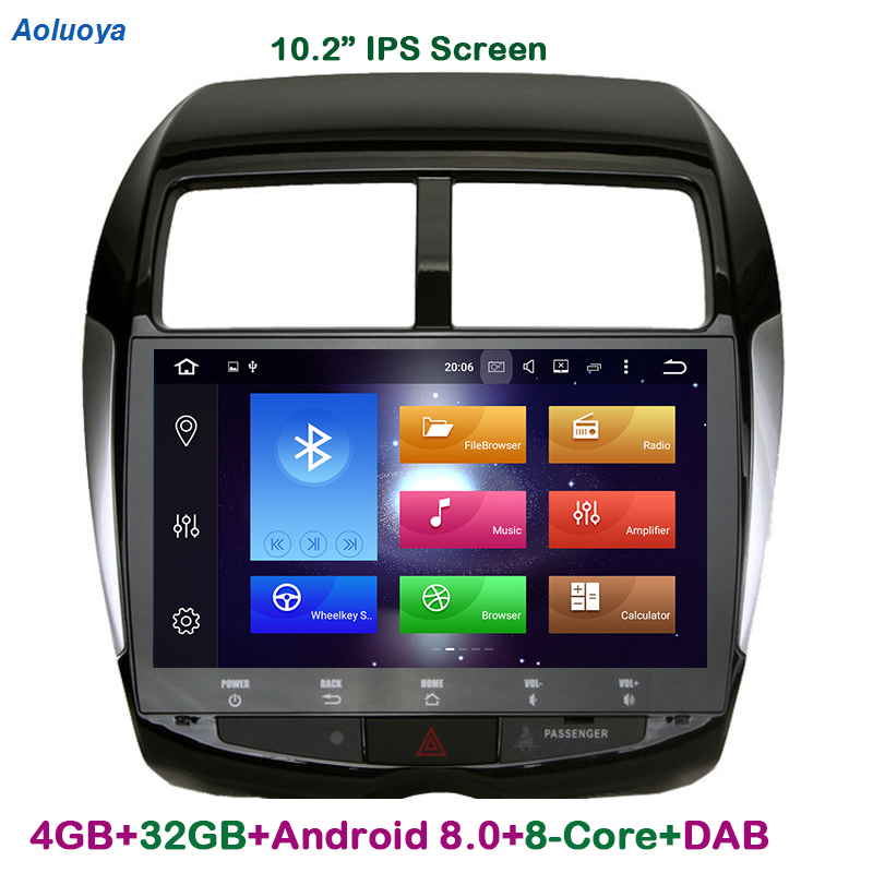 Aoluoya IPS 4GB RAM 32G ROM Octa Core Android 8.0 2 Din CAR DVD GPS Navigation Player For Mitsubishi ASX 2010-2015 Peugeot 4008