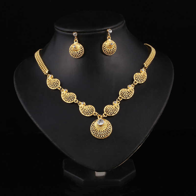 Hesiod Dubai Jewelry Sets Crystal Indian Wedding Necklace Drop Earrings for Women Turkish Jewelry Sets Drop Shipping