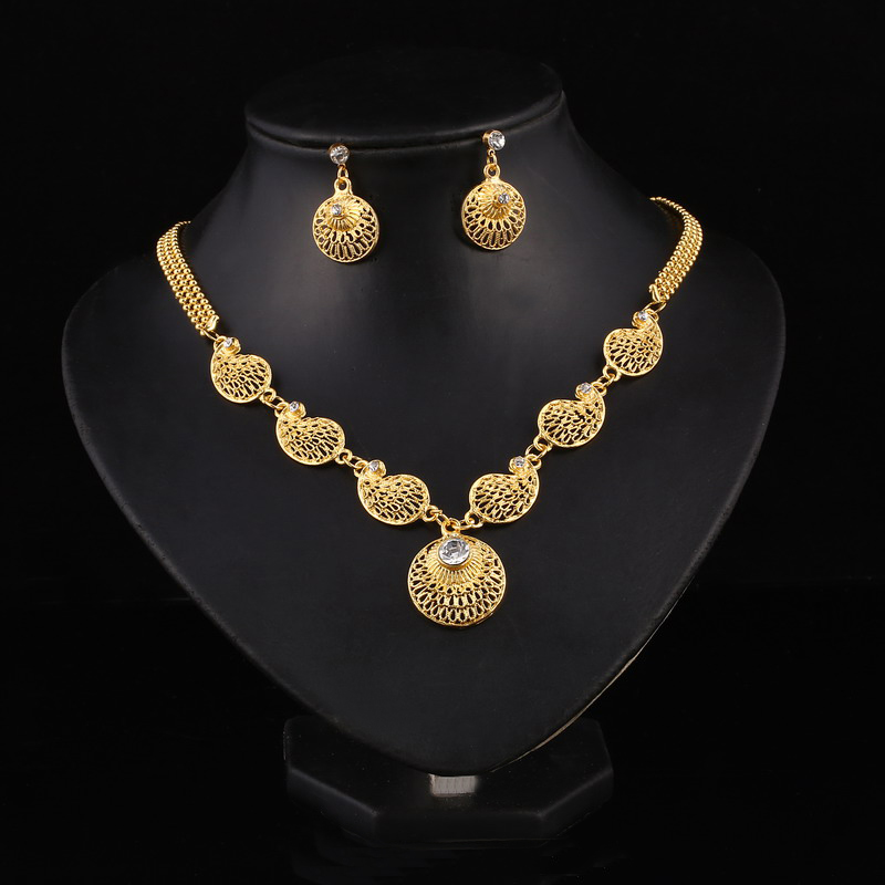 Dubai 24K Gold Plated Jewelry Sets Crystal Indian Wedding ...