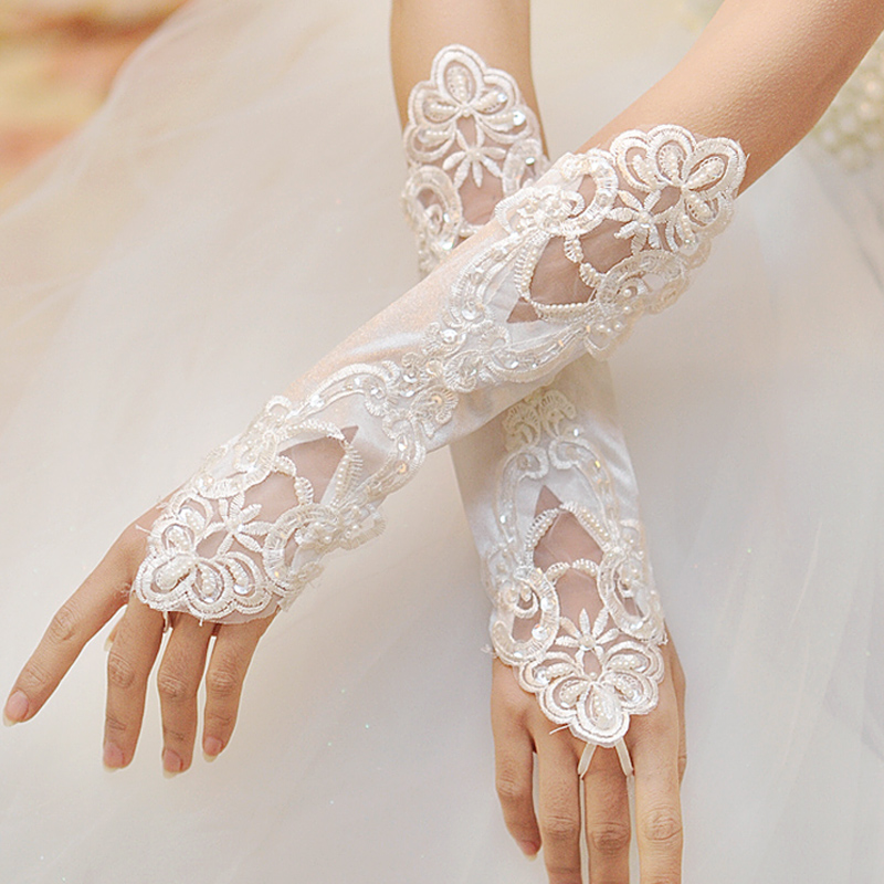 Bridal Gloves White or Red Lace Embroidery Wedding Gloves