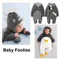 Lovely Penguin Panda Rabbit Warm Coral Cashmere Jumpsuit Soft Kids Hooded Footies Cute Costume Thicken Baby Clothes