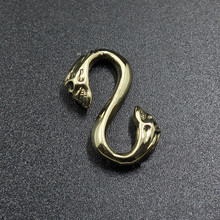 Pure Copper Double Head Skull S Hook Brass S Connection Hook DIY Bags Leather Goods Accessories Connecting Ring Keychain Tools cs 12 24 in s hook s hook not include pot