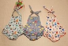 on sale Ruffled Baby Girl Sunsuit Romper Toddler Baby Girls Clothing Set Cut Kids Jumpsuit Cotton Chevron Bubble Romper headband
