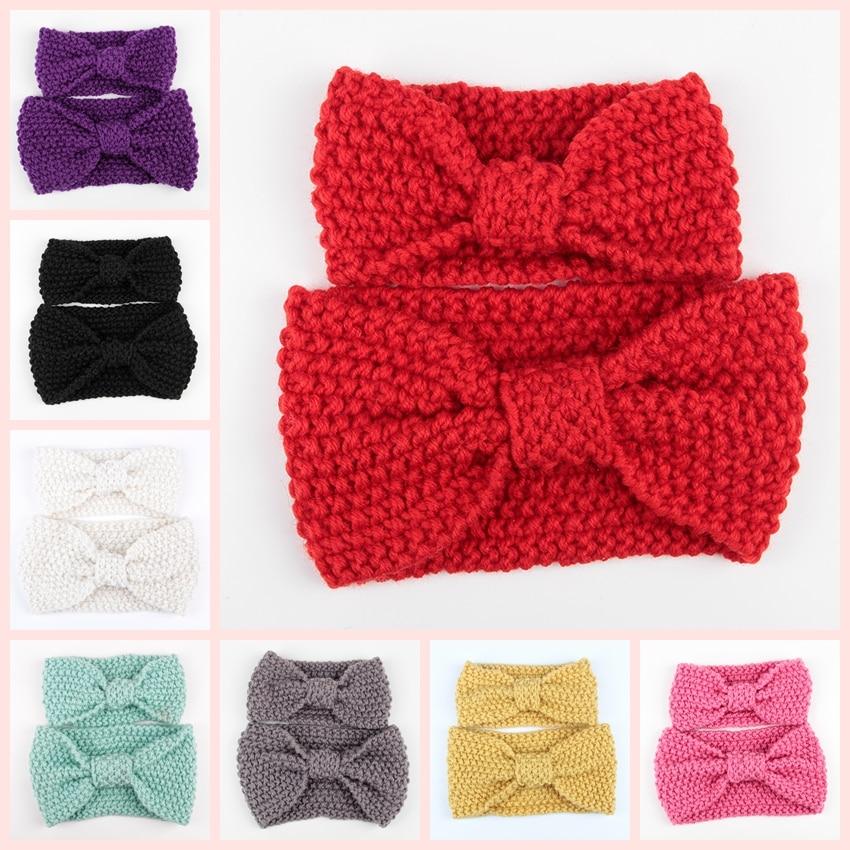 Retail 1 Set Mom And Me Fashion Winter Crochet Headband Set Women Knit Headband Cute Infant Crochet Headwrap Ear Warmer   Headwear