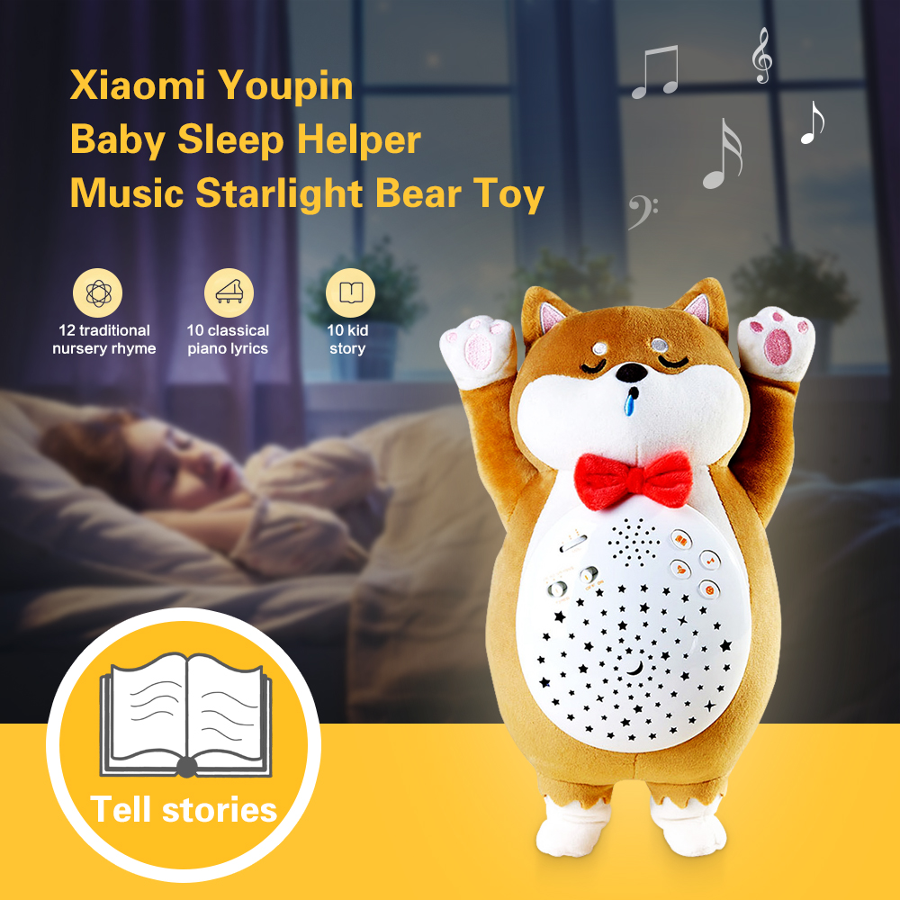 Baby Sleep Helper from Xiaomi Youpin Music Starlight Projection Bear Toy Plush Light Up Toys For