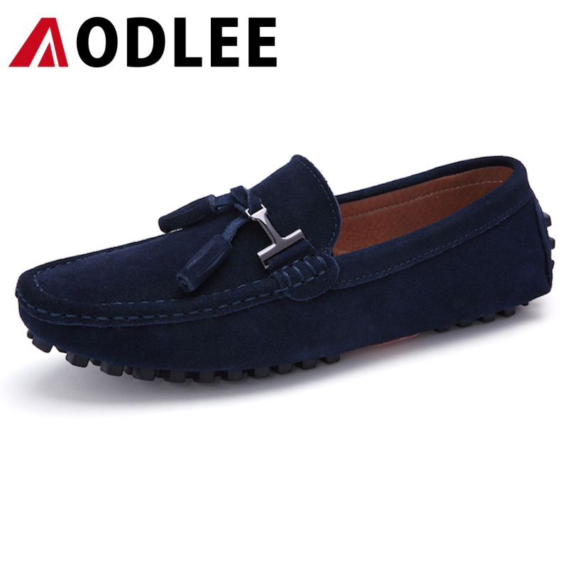 AODLEE Fashion Casual Mens Shoes Male Leather Men Flats Shoes Mens Loafers Chaussure Homme Slip On In 4 Color Mens Driving Shoes pointed toe tassel leather shoes men slip on brogue shoes flats british style rivet shoes casual loafers chaussure homme 022