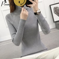 PEONFLY 2017 Thick Warm Women Turtleneck Winter Sweater Women Pullovers Female Knitted Striped Tricot Jumper Pull