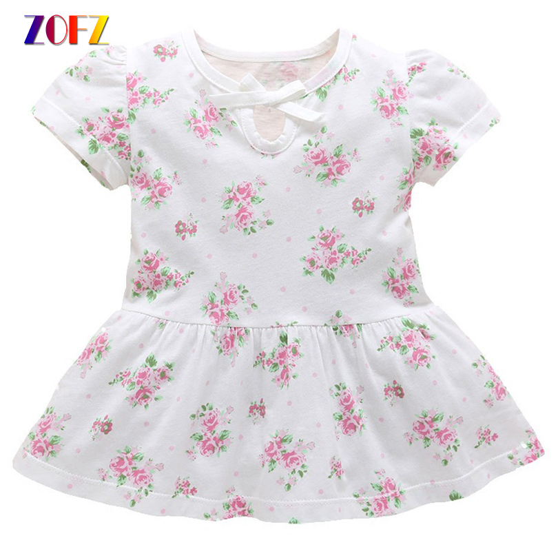 ZOFZ 2018 Baby Girl Dress Cotton Short Sleeves Dress with Bow Summer Floral Newborn Clothing Cute O-neck Baby Girls Clothes