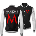 New Hot 2015 Winter Cotton Thick Warm Sport Coats Hip Hop Maroon 5 Rock And Roll Band Casual Black Baseball Bomber Jacket Men