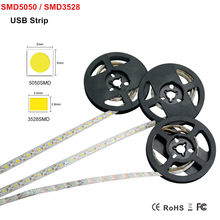 SMD 3528 / 5050 DC 5V USB Power Supply Decor LED Strip Light 1M 60Leds Lamp Flexible Ribbon Tape Lights In White / Warm White(China)