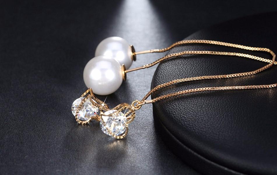 Effie Queen Fashion Cute Ear Wire Earrings Female Models Long Drop Crystal Imitation Pearl Jewelry Dangle Earrings Brincos DDE26 9