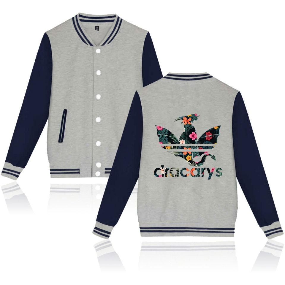 Dracarys Game of Thrones Men's Baseball Jacket Kpop Harajuku Jacket Men/Women Comfortable Streetwear Windbreakers Free Shipping