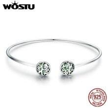 WOSTU prawdziwe 925 srebro drzewo życia zielony kryształ CZ kobiety otwórz mankiet Bangle & bransoletka luksusowe biżuteria srebrna CQB057