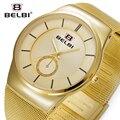 2016 Belbi Moda Malha de Aço Relógio de Quartzo Dos Homens Relógios de Pulso Dos Homens Relógio de Quartzo-relógio de Pulso Estilo Simples Dial Marca de Luxo Relojes