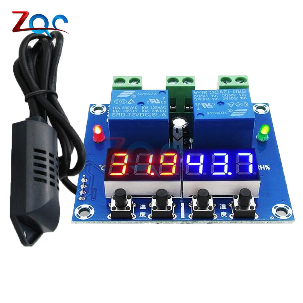 XH-M452 DC 12V LED Digital Thermostat Temperature Humidity Control Thermometer Hygrometer Controller Relay Module AM2301 Probe