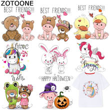 ZOTOONE Cartoon Bear Iron on Patches Animal Unicorn Stickers Transfers for Clothes T-shirt Heat Transfer Accessory Appliques F1(China)