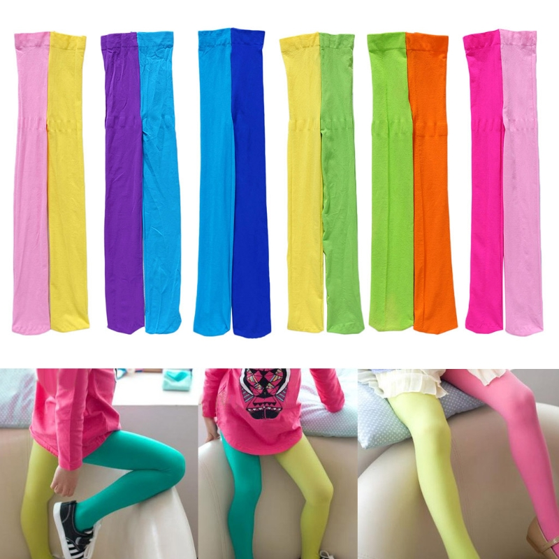Girls Double Candy Color Warm Stockings Tight Kids Pantyhose Underpants