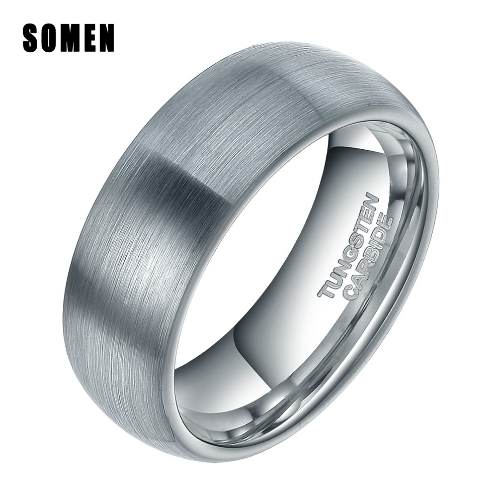 8mm Brushed Silver Tungsten Carbide Ring Men Dome Engagement Ring Marriage Wedding Band Fashion Male Jewelry For Party Anel