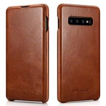Novo magro couro genuíno caso da aleta para samsung galaxy s10 negócios couro real inteligente capa do telefone para samsung s10 plus