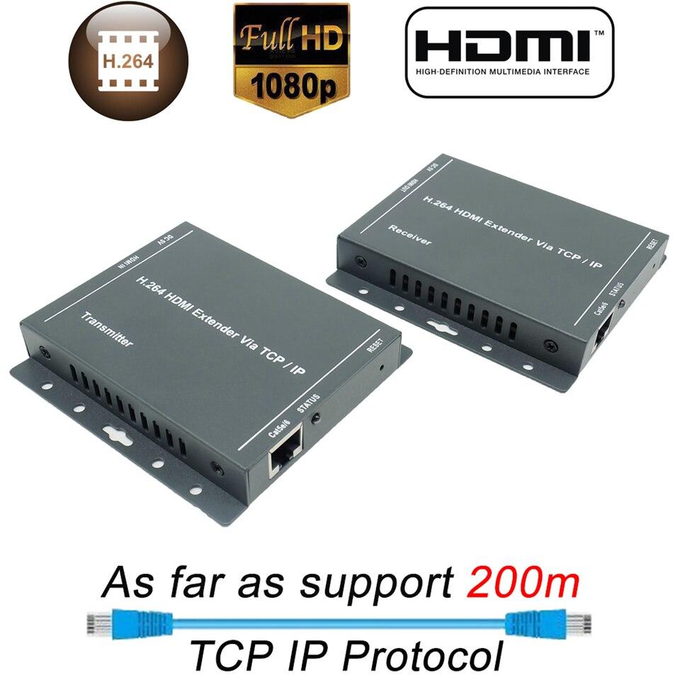 ZY DT216L IP HDMI Extender Ethernet Rj45 1080P 200m HDMI Extension Transmitter Receiver UTP HDMI Extender IP By Cat5 Cat5e Cat6