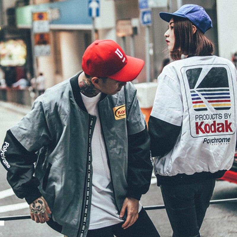 dce6d370e4d mujeres hombres abrigo de chaquetas marca estilo impresión Harajuku ropa  chaqueta de Hip Kodak piloto los ...