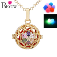 Glow In The Dark Beads Gold Zircon Crystal Flower Hollow Locket Cage Pendant Necklace For Aromatherapy